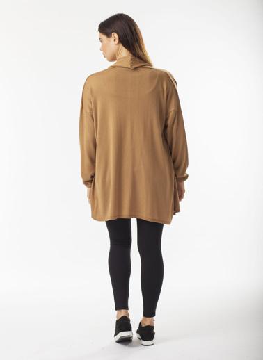Stamina Tek Plaka Uzun  Hırka Camel